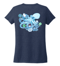 Load image into Gallery viewer, Lauren Gilliam, Octopus, Women's V-neck T-shirt in Deep Sea Blue