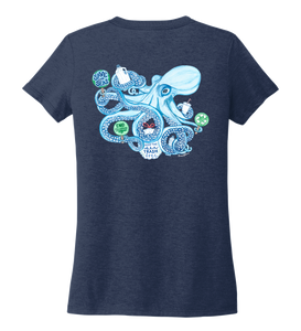 Lauren Gilliam, Octopus, Women's V-neck T-shirt in Deep Sea Blue