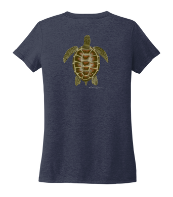 Colin Thompson, Turtle, Women's V-neck T-shirt in Deep Sea Blue