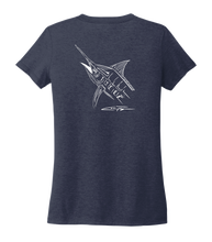 Load image into Gallery viewer, Colin Thompson, Marlin, Women's V-neck T-shirt in Deep Sea Blue