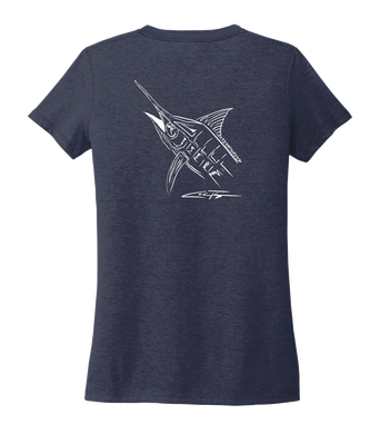 Colin Thompson, Marlin, Women's V-neck T-shirt in Deep Sea Blue