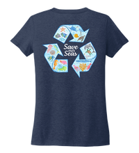 Load image into Gallery viewer, Lauren Gilliam, Recycle, Women's V-neck T-shirt in Deep Sea Blue