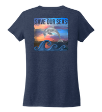 Load image into Gallery viewer, Lauren Gilliam, Dolphin, Women's V-neck T-shirt in Deep Sea Blue
