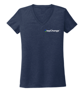 Lauren Gilliam, Dolphin, Women's V-neck T-shirt in Deep Sea Blue