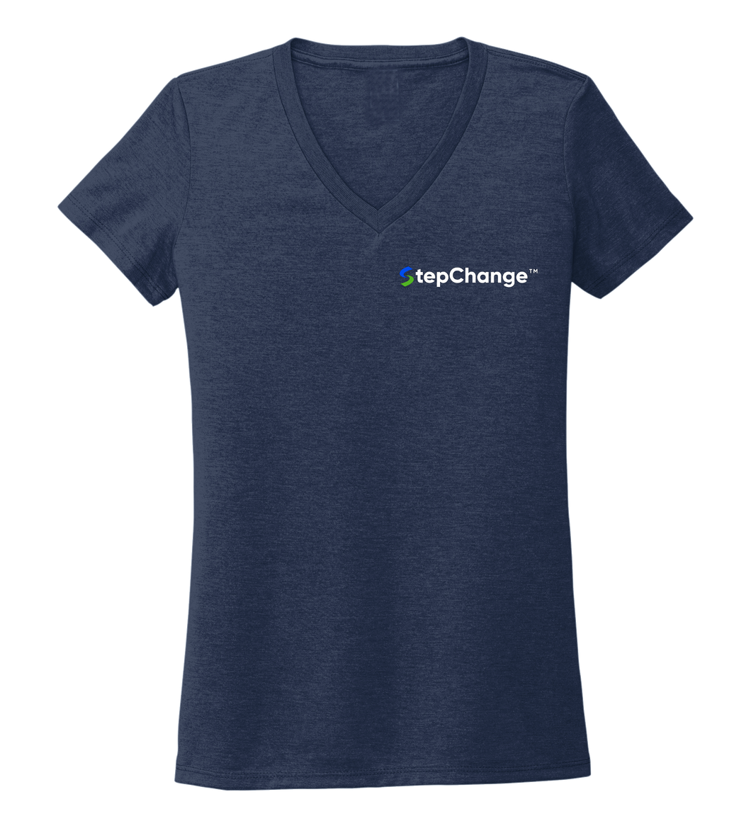 StepChange Women's V-neck T-shirt in Deep Sea Blue