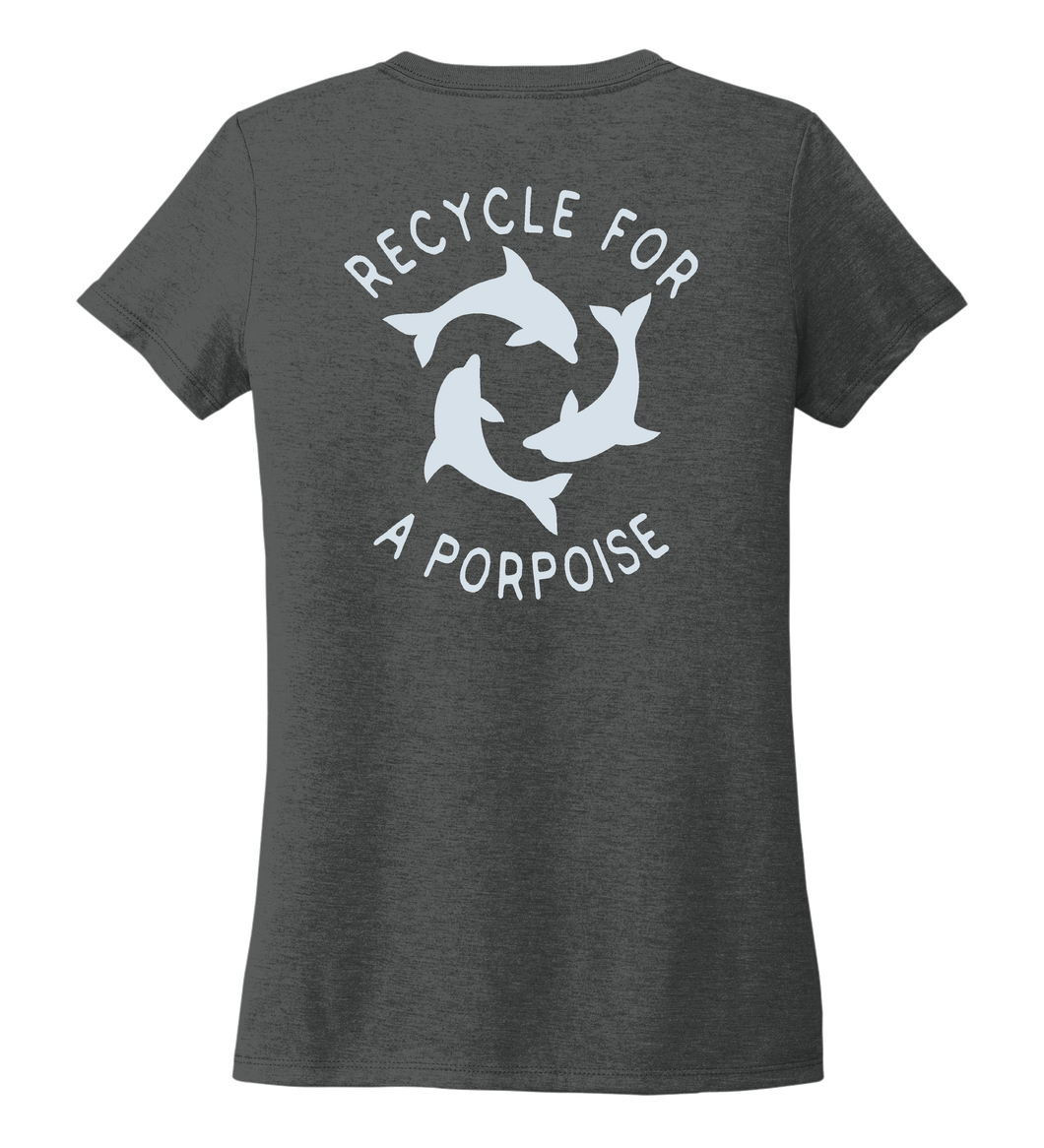 StepChange, Porpoise, Women's V-neck T-shirt in Slate Black