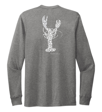 Alexandra Catherine, Fleur White Lobster, Unisex Crew Neck Long Sleeve T-shirt in Oyster Grey