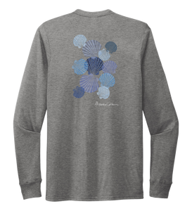 Alexandra Catherine, Tossed Seashells, Unisex Crew Neck Long Sleeve T-shirt in Oyster Grey