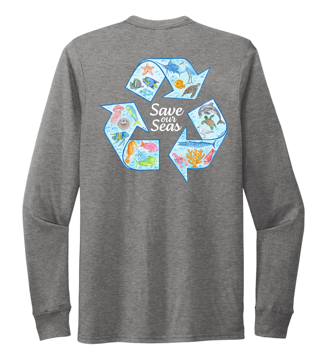 Lauren Gilliam, Recycle, Unisex Crew Neck Long Sleeve T-shirt in Oyster Grey