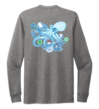 Load image into Gallery viewer, Lauren Gilliam, Octopus, Unisex Crew Neck Long Sleeve T-shirt in Oyster Grey
