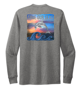 Lauren Gilliam, Dolphin, Unisex Crew Neck Long Sleeve T-shirt in Oyster Grey