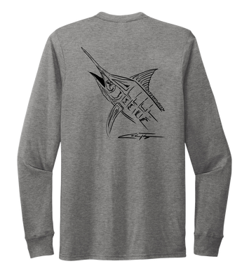 Colin Thompson, Marlin, Crew Neck Long Sleeve T-Shirt in Oyster Grey