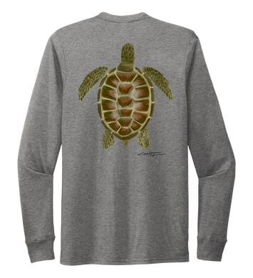 Colin Thompson, Turtle, Crew Neck Long Sleeve T-Shirt in Oyster Grey