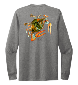Ronnie Reasonover, The Crab, Crew Neck Long Sleeve T-Shirt in Oyster Grey