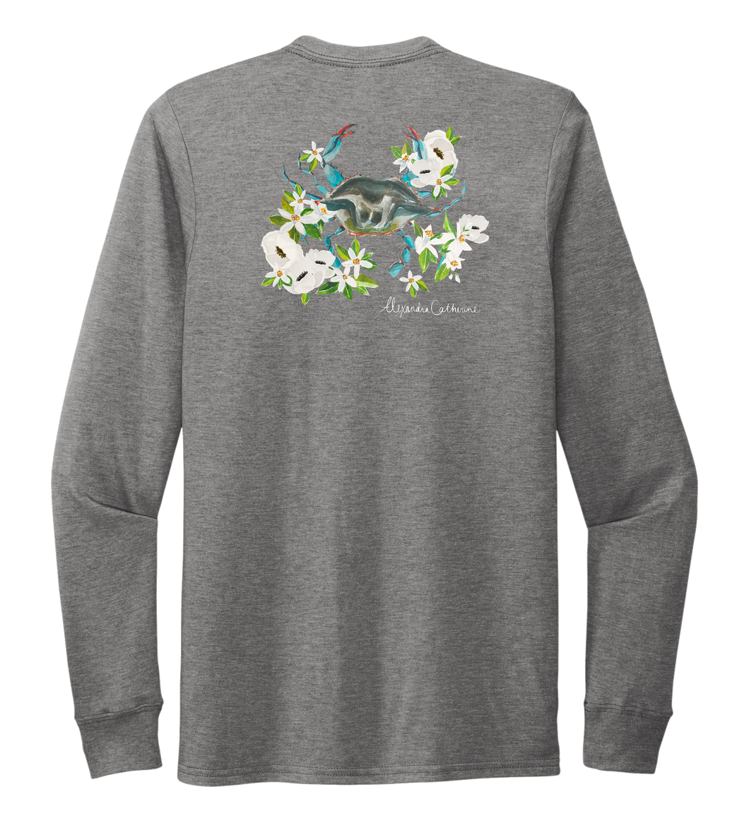 Alexandra Catherine, Blue Crab, Unisex Crew Neck Long Sleeve T-shirt in Oyster Grey
