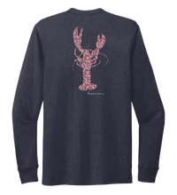 Load image into Gallery viewer, Alexandra Catherine, Fleur Pink Lobster, Unisex Crew Neck Long Sleeve T-shirt in Deep Sea Blue