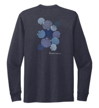 Load image into Gallery viewer, Alexandra Catherine, Tossed Seashells, Unisex Crew Neck Long Sleeve T-shirt in Deep Sea Blue