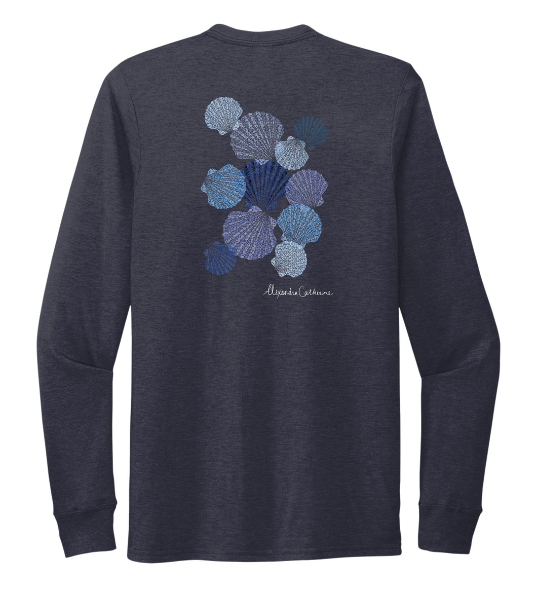 Alexandra Catherine, Tossed Seashells, Unisex Crew Neck Long Sleeve T-shirt in Deep Sea Blue