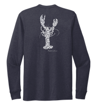 Load image into Gallery viewer, Alexandra Catherine, Fleur White Lobster, Unisex Crew Neck Long Sleeve T-shirt in Deep Sea Blue