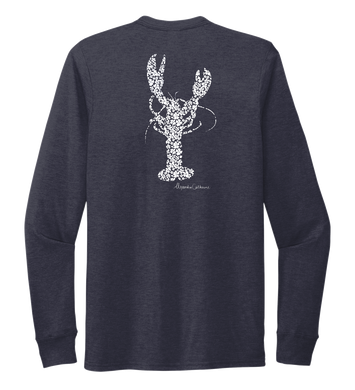 Alexandra Catherine, Fleur White Lobster, Unisex Crew Neck Long Sleeve T-shirt in Deep Sea Blue