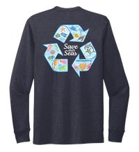 Load image into Gallery viewer, Lauren Gilliam, Recycle, Unisex Crew Neck Long Sleeve T-shirt in Deep Sea Blue