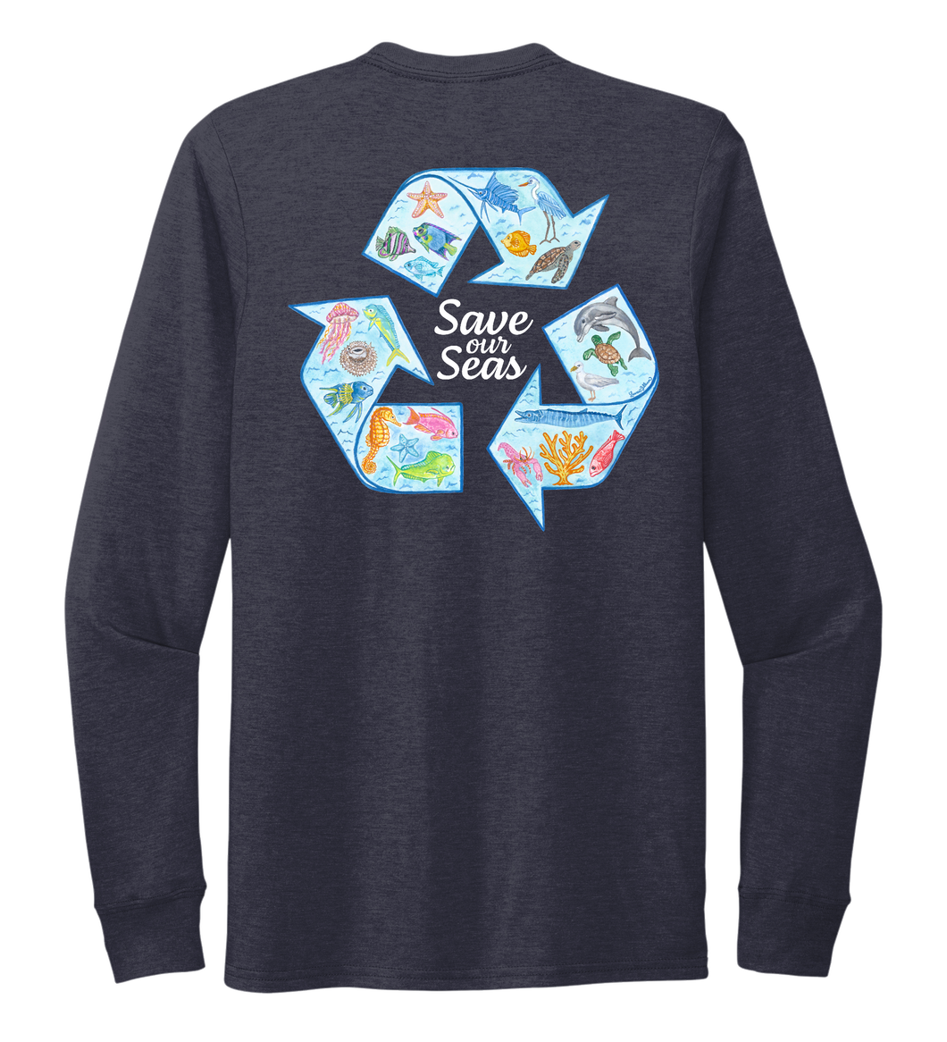 Lauren Gilliam, Recycle, Unisex Crew Neck Long Sleeve T-shirt in Deep Sea Blue