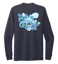 Load image into Gallery viewer, Lauren Gilliam, Octopus, Unisex Crew Neck Long Sleeve T-shirt in Deep Sea Blue