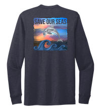 Load image into Gallery viewer, Lauren Gilliam, Dolphin, Unisex Crew Neck Long Sleeve T-shirt in Deep Sea Blue