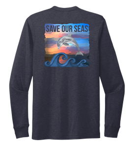 Lauren Gilliam, Dolphin, Unisex Crew Neck Long Sleeve T-shirt in Deep Sea Blue