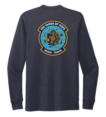 FORCE BLUE 100 YARDS OF HOPE Unisex Crew Neck Long Sleeve T-shirt in Deep Sea Blue