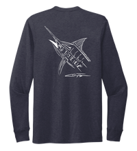Load image into Gallery viewer, Colin Thompson, Marlin, Crew Neck Long Sleeve T-Shirt in Deep Sea Blue