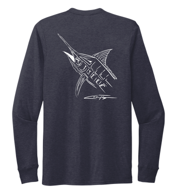 Colin Thompson, Marlin, Crew Neck Long Sleeve T-Shirt in Deep Sea Blue