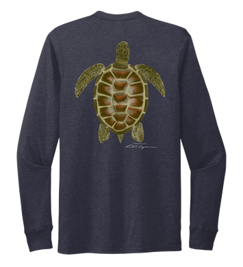 Colin Thompson, Turtle, Crew Neck Long Sleeve T-Shirt in Deep Sea Blue