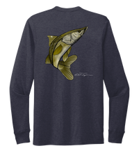 Load image into Gallery viewer, Colin Thompson, Snook, Crew Neck Long Sleeve T-Shirt in Deep Sea Blue
