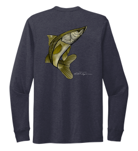 Colin Thompson, Snook, Crew Neck Long Sleeve T-Shirt in Deep Sea Blue