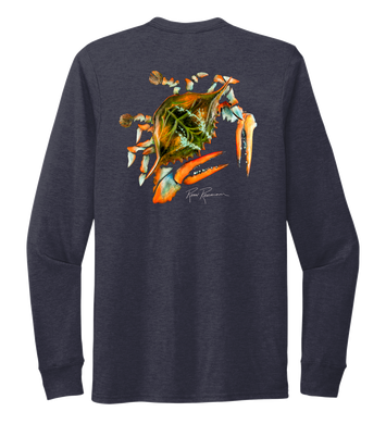 Ronnie Reasonover, The Crab, Crew Neck Long Sleeve T-Shirt in Deep Sea Blue