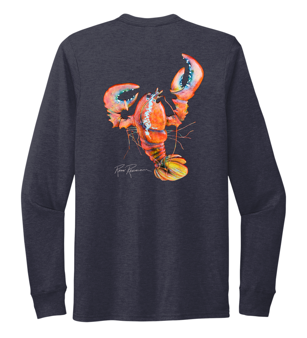 Ronnie Reasonover, The Lobster, Crew Neck Long Sleeve T-Shirt in Deep Sea Blue