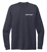 Load image into Gallery viewer, StepChange, Porpoise, Unisex Crew Neck Long Sleeve T-shirt in Deep Sea Blue
