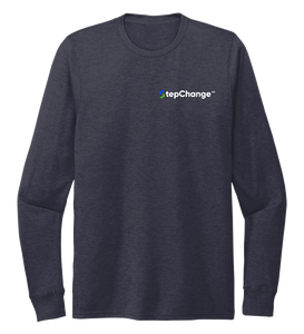 StepChange, Porpoise, Unisex Crew Neck Long Sleeve T-shirt in Deep Sea Blue