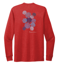 Load image into Gallery viewer, Alexandra Catherine, Tossed Seashells, Unisex Crew Neck Long Sleeve T-shirt in Bravo Red