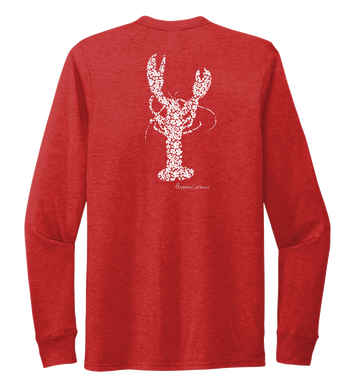 Alexandra Catherine, Fleur White Lobster, Unisex Crew Neck Long Sleeve T-shirt in Bravo Red