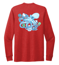 Load image into Gallery viewer, Lauren Gilliam, Octopus, Unisex Crew Neck Long Sleeve T-shirt in Bravo Red