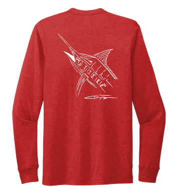 Colin Thompson, Marlin, Crew Neck Long Sleeve T-Shirt in Bravo Red