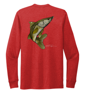 Colin Thompson, Snook, Crew Neck Long Sleeve T-Shirt in Bravo Red