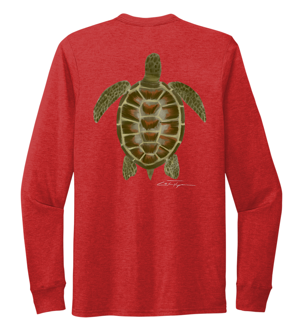 Colin Thompson, Turtle, Crew Neck Long Sleeve T-Shirt in Bravo Red