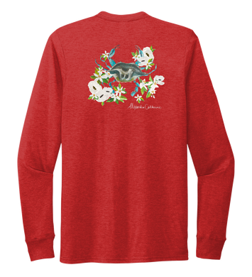 Alexandra Catherine, Blue Crab, Unisex Crew Neck Long Sleeve T-shirt in Bravo Red