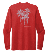 Load image into Gallery viewer, Alexandra Catherine, Palm Trees, Unisex Crew Neck Long Sleeve T-shirt in Bravo Red