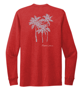 Alexandra Catherine, Palm Trees, Unisex Crew Neck Long Sleeve T-shirt in Bravo Red