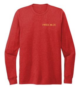 FORCE BLUE 100 YARDS OF HOPE Unisex Crew Neck Long Sleeve T-shirt in Bravo Red