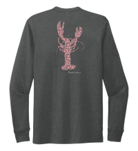 Load image into Gallery viewer, Alexandra Catherine, Fleur Pink Lobster, Unisex Crew Neck Long Sleeve T-shirt in Slate Black